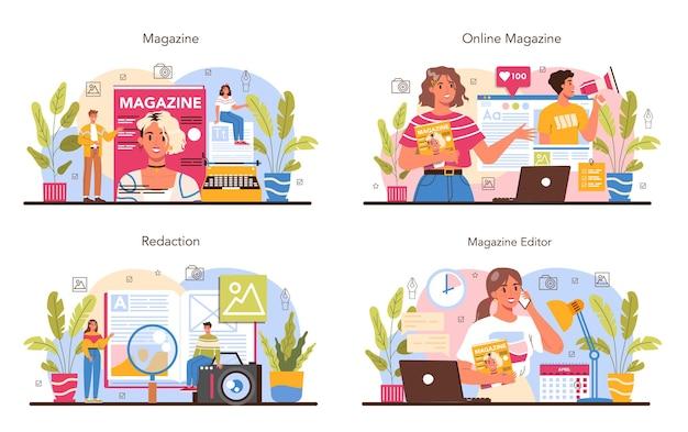 Ensemble de concept d'éditeur de magazine. journaliste et designer travaillant sur l'article de magazine et la photo. sélection du contenu, plan de publication et promotion. illustration vectorielle plane isolée