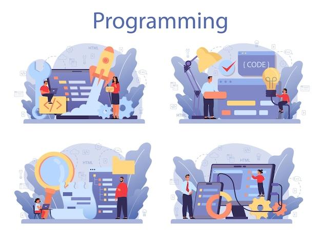 Ensemble de concept d'éducation informatique. l'élève écrit un logiciel et crée du code pour l'ordinateur. script de codage pour le projet et l'application. technologie numérique pour site web, interface et appareils. .