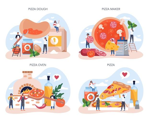 Ensemble de concept de fabricant de pizza