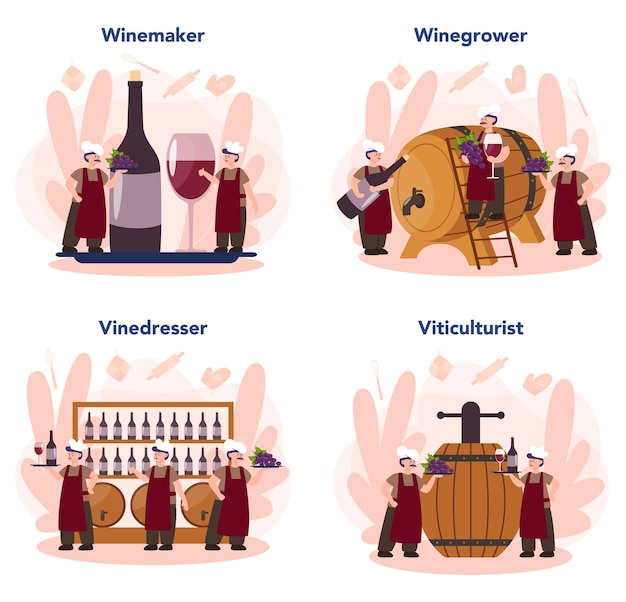 Ensemble de concept de fabricant de vin