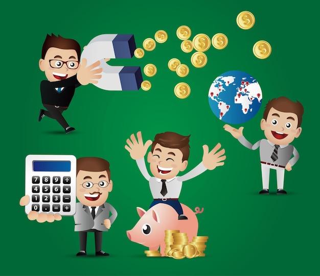 Ensemble de concept financier de gens d & # 39; affaires