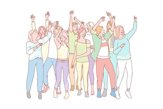 Ensemble de concept de gens qui dansent