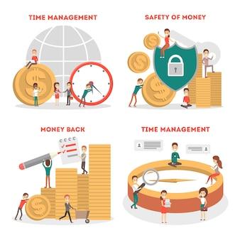 Ensemble de concept de gestion du temps. idée d'horaire