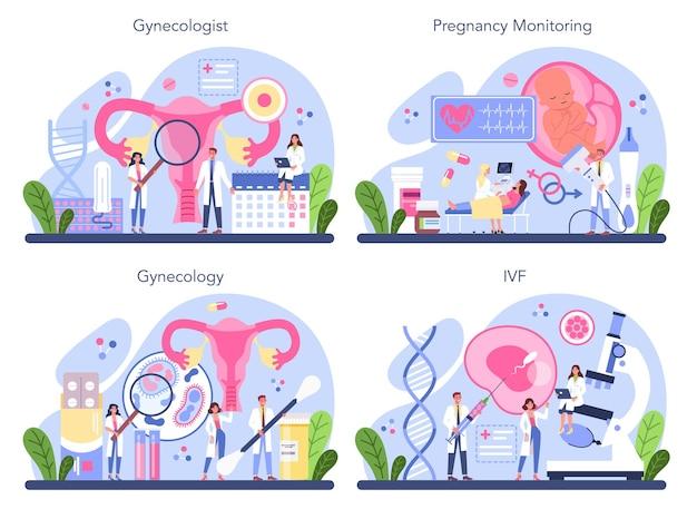 Ensemble de concept de gynécologue. médecin de la santé des femmes, spécialiste de la fiv. contrôle de l'anatomie humaine, des ovaires et de l'utérus. surveillance de la grossesse et traitement de la maladie. illustration isolée en style cartoon
