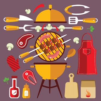 Ensemble de concept ... d & # 39; icônes plat barbecue
