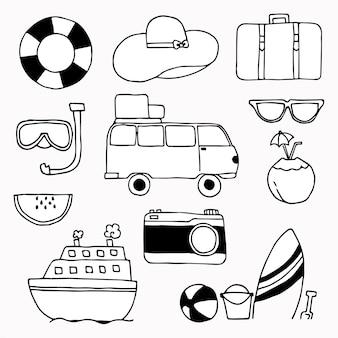 Ensemble de concept d'icônes de voyage doodle sur fond blanc.