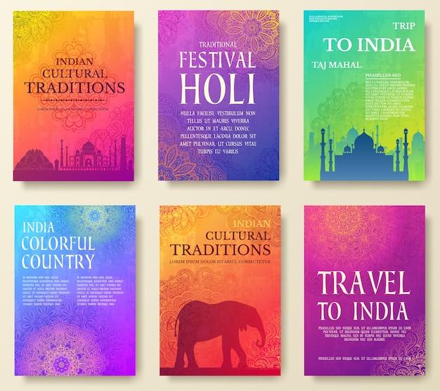 Ensemble de concept d'illustration d'ornement de pays indien