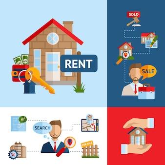 Ensemble de concept immobilier