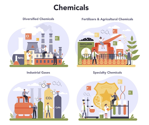 Ensemble de concept de l'industrie chimique. chimie industrielle et production de produits chimiques. pétrole, gaz et engrais.