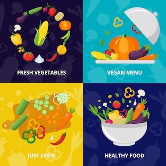 Ensemble de concept isolé de légumes
