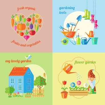 Ensemble de concept de jardin