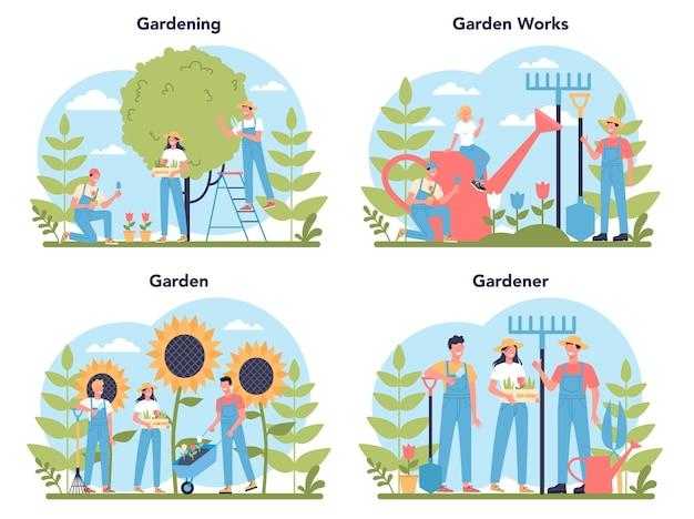 Ensemble de concept de jardinage. idée d'entreprise horticole. caractère plantant des arbres et des buissons. outil spécial pour le travail, pelle et pot de fleurs, tuyau.