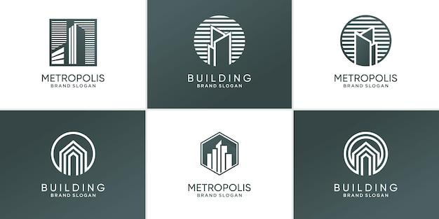 Ensemble de concept de logo de construction avec un concept unique créatif vecteur premium