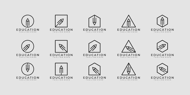 Ensemble de concept de logo de crayon créatif