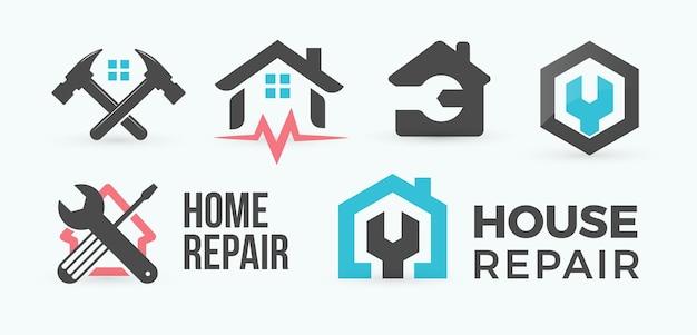 Ensemble de concept de logo de style dessin animé plat de réparation à domicile