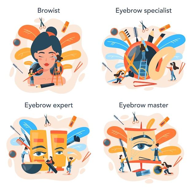 Ensemble de concept de maître et de concepteur de sourcils