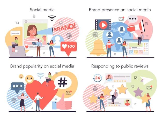 Ensemble de concept de médias sociaux