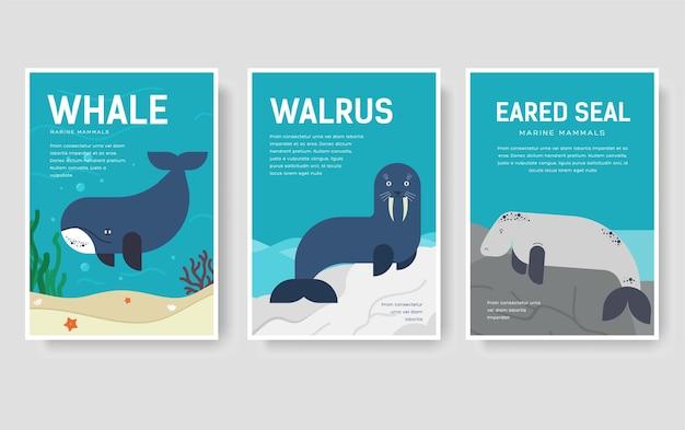 Ensemble de concept de modèle de mammifères marins