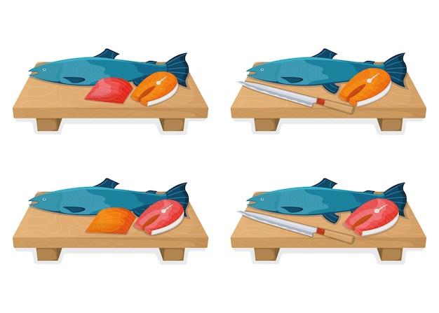 Ensemble de concept de nourriture de poisson saumon atlantique, style de dessin animé de nourriture à bosse fraîche isolé sur blanc, illustration plate. planche de cuisine avec couteau tranchant, article de cuisine
