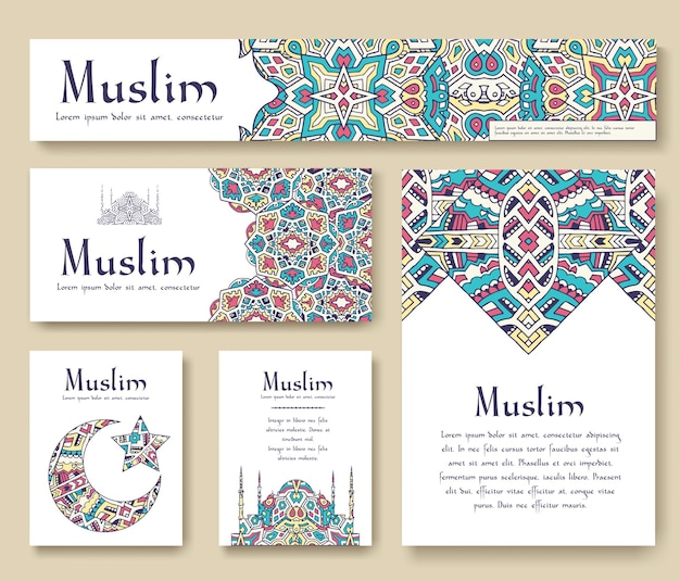 Ensemble de concept d'ornement de page flyer turc. art traditionnel, islam, arabe, abstrait, motifs ottomans