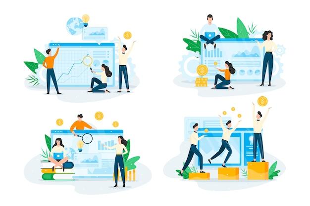 Ensemble de concept de planification d'entreprise. idée d'analyse