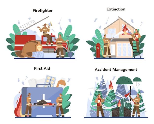 Ensemble de concept de pompier