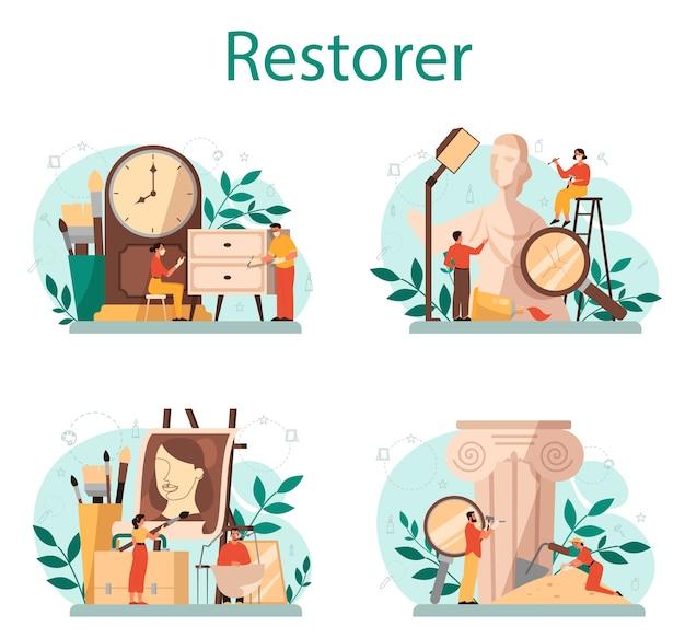 Ensemble de concept de restaurateur. l'artiste restaure une statue ancienne, des peintures anciennes et des meubles. personne réparer soigneusement le vieil objet d'art. illustration vectorielle en style cartoon