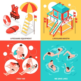 Ensemble de concept de sauveteurs de plage 2x2 d'inventaire de sauveteurs et d'économiser les compositions isométriques de noyade