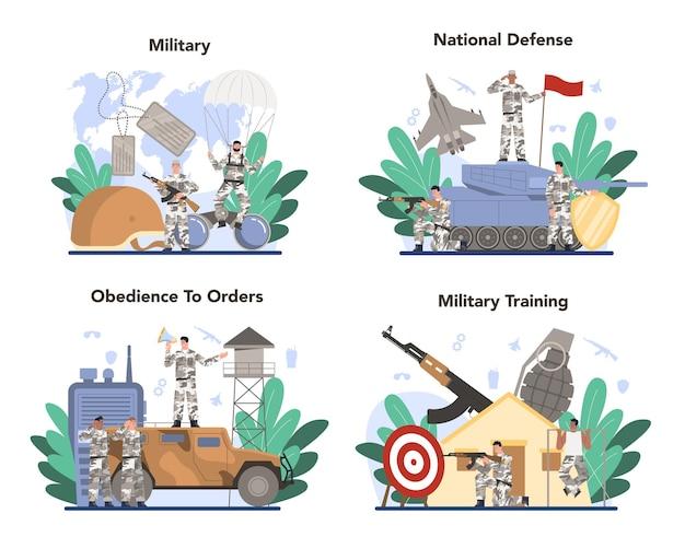 Ensemble de concept de soldat