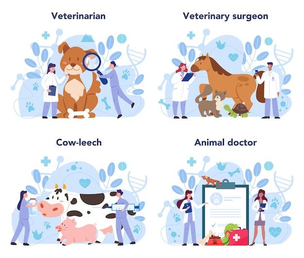 Ensemble de concept vétérinaire pour animaux de compagnie