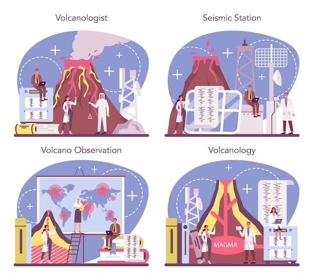 Ensemble de concept de volcanologue