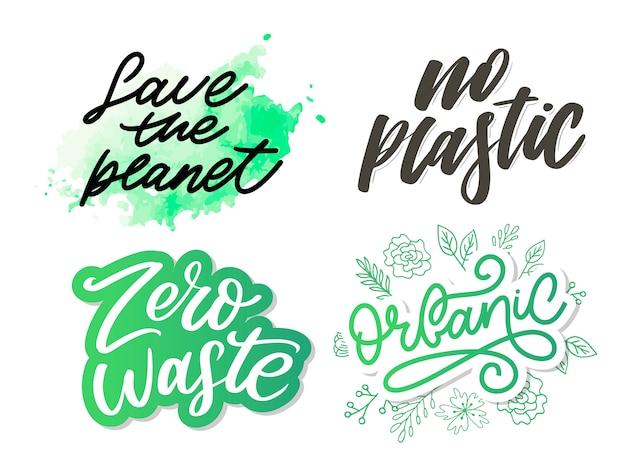 Ensemble de concept zéro déchet, texte de lettrage eco vert