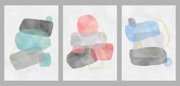 Ensemble de conception abstraite avec des griffonnages et diverses formes. illustrations minimalistes créatives peintes à la main pour carte postale, bannière de médias sociaux ou arrière-plan de conception de couverture de brochure