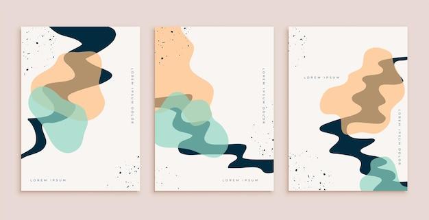 Ensemble de conception d'affiches dessinées à la main abstraite