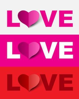 Ensemble de conception d'amour peut utiliser pour le mariage et la saint-valentin.
