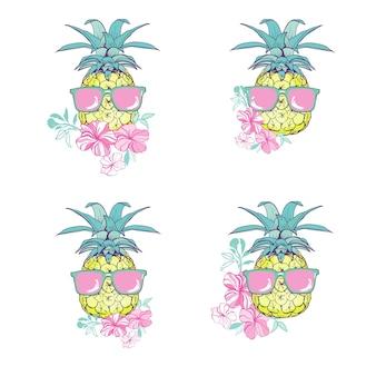 Ensemble de conception ananas avec des lunettes et des fleurs