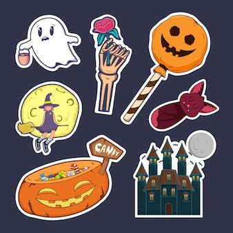 Ensemble de conception d & # 39; autocollant halloween mignon