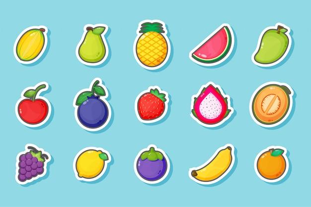 Ensemble de conception d'autocollants de fruits