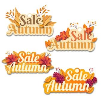 Ensemble de conception d'autocollants de vente d'automne