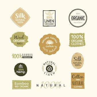 Ensemble de conception de badge d'étiquette logo vêtements bio dessinés à la main
