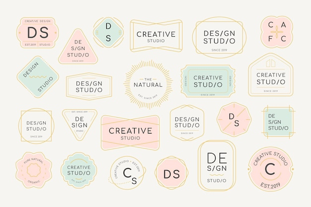 Ensemble de conception de badge de logo minimal