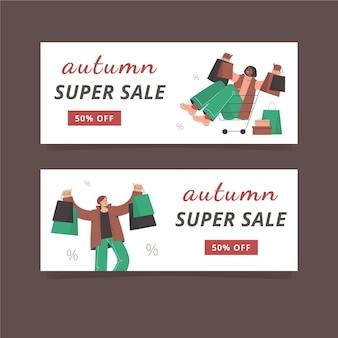 Ensemble de conception de bannière de vente d'automne