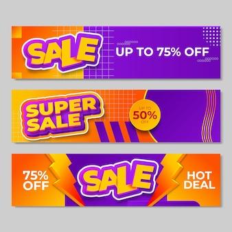 Ensemble de conception de bannières de vente. illustration vectorielle