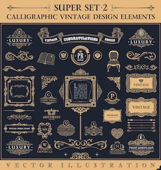 Ensemble de conception baroque d'éléments et de cadres vintage calligraphiques