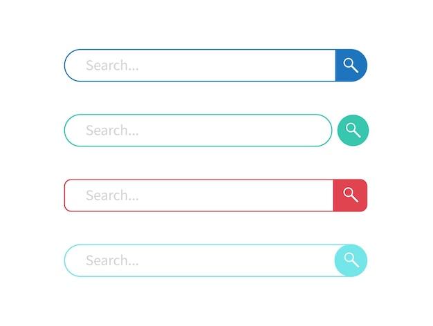Ensemble de conception de barre de recherche isolé sur blanc
