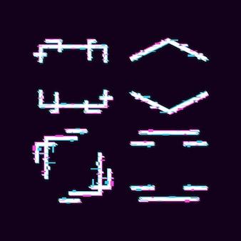Ensemble de conception de bordure de cadre à effet glitch divisé