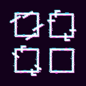 Ensemble de conception de cadre à effet glitch géométrique carré avec des couleurs bleues et violettes