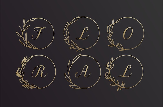 Ensemble de conception de cadre de logo de couronne de fleurs d'alphabet dessiné à la main noir et or floral