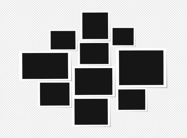Ensemble de conception de cadre photo sur du ruban adhésif isolé sur fond transparent