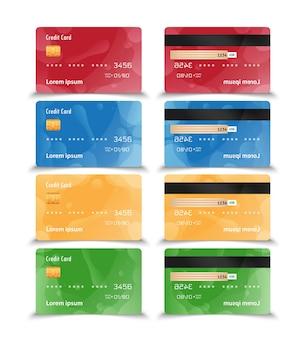Ensemble de conception de carte de crédit avec des formes fluides